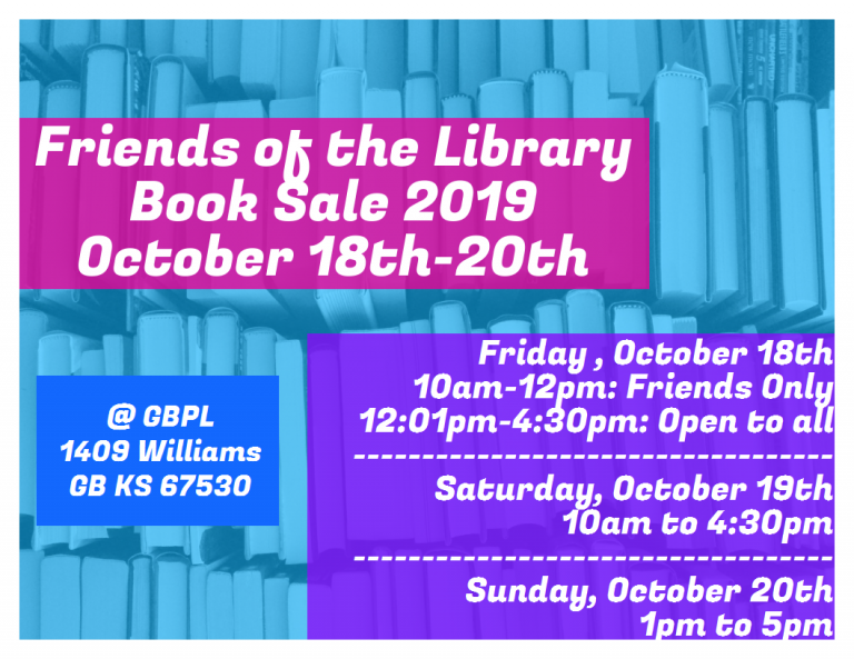 The Library Book Sale is coming the third weekend of October!